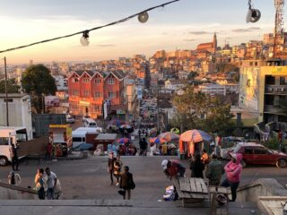 Looking down at the market in Antananarivo, Madagascar