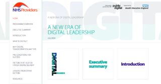 screen shot of the nhs providers and public digital's first guide called 'A new era of digital leadership'.