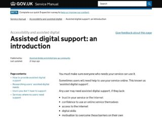 A screenshot of the current page about assisted digital on the GOV.UK Service Manual