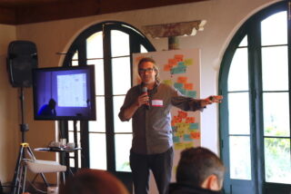 James Stewart doing a talk at a recent event for technology leaders in Intercorp, in Peru