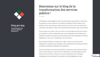 Screenshot of the first post on the new blog for public service transformation in Madagascar