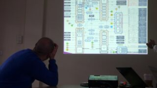 Mike Bracken looking at a technology spaghetti diagram