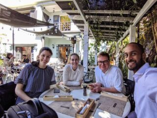 The Madagascar team at lunch (Emily, Sonja, Jamie, Kishor)