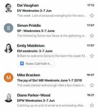 Lots of week notes in Ben's inbox